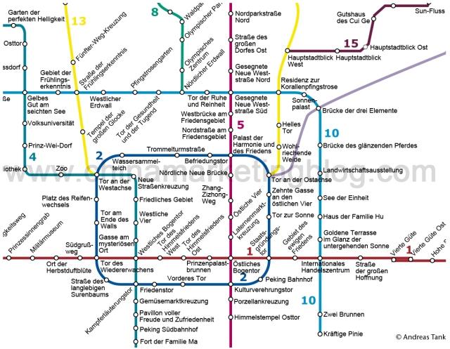 Dekodiert: Ausschnitt des Pekinger U-Bahn-Plans in deutscher Übersetzung. © at