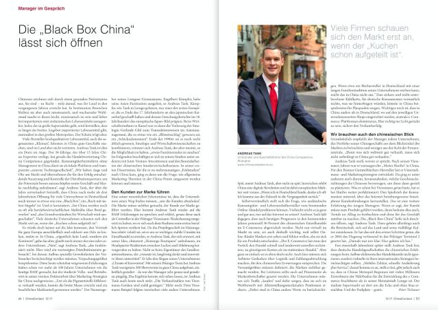 Andreas Tank, Gründer und Geschäftsführer der China Competence, Shanghai, im Gespräch mit ChinaContact Chefredakteur Peter Tichauer.